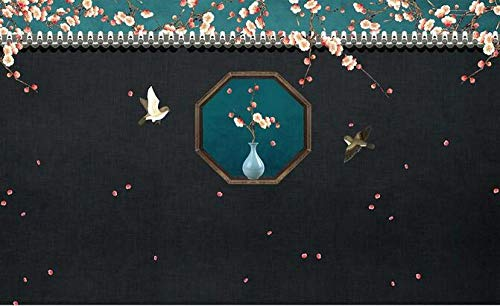 Wallpaper 3D Mural New Chinese Garden Plum Blossom Bird Wall Paper Mural Bedroom Living Room Study Sofa Bedside Background Wall cloth-250cmx175cm(LxH)