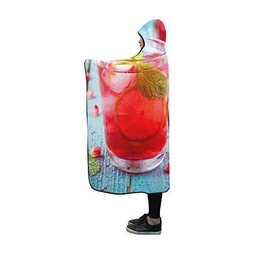JOCHUAN Mit Kapuze Decke kalte hausgemachte Limonade Granatapfel Minze Limone Decke 60 x 50 Zoll Comfotable mit Kapuze Throw Wrap