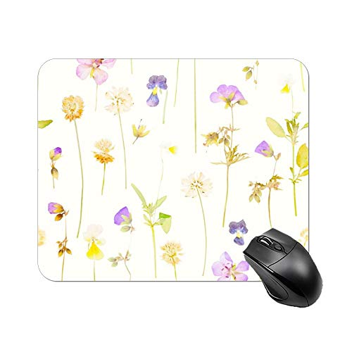 DKISEE Rectangle Mouse Pad Pressed Flowers Non-Slip Rubber Mousepad for Laptop, Computer & PC Gaming Mouse Pad 9.8'x12'