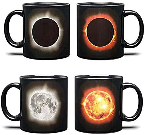 MWKL Bienvenido a Personalizar - Taza de café Solar con asa - Patrón de Eclipse Solar - Cambio de Color - Taza de té de cerámica