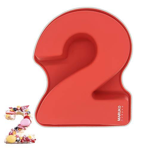 Stampo per torta in silicone 3D, grande numero, per compleanno e anniversario di matrimonio, teglie in silicone, rettangolari per torte rettangolari, 25,4 cm, numero di 2.