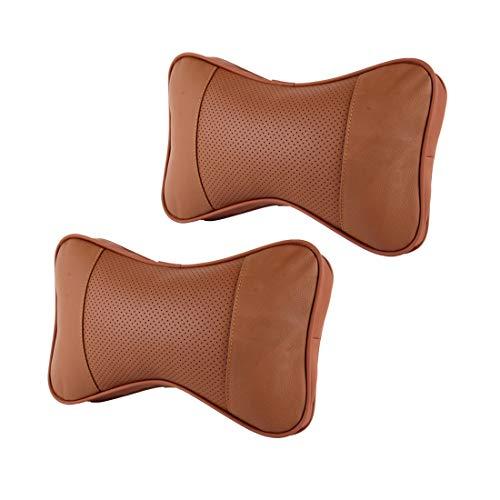 WuqiAng Headrest 2 PCS MLC-06 Car Neck Pillow Soft Version Lovely Breathe Car Auto Head Neck Rest Cushion Headrest Pillow Pad (Color : Brown)