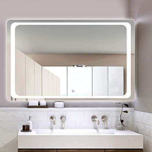 HL - Espejo de baño con luz LED inteligente antivaho interruptor táctil a prueba de humedad, panel trasero sin marco, 600 x 800 mm, apto para maquillaje de baño, color blanco
