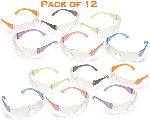 12 PK Safety Eyewear UV Protection Glasses By Tuff America Clear Lens & Colored Temple