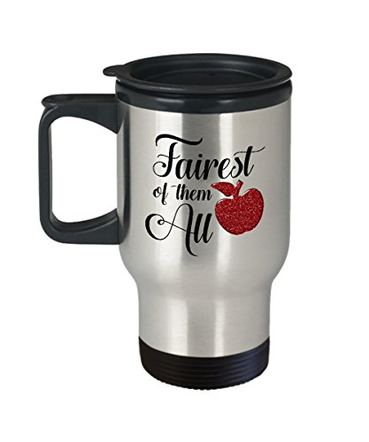 Fairest of Them All Princess Travel Mug Gift Snow White Apple Crown Love Magic Castle Coffee Cup