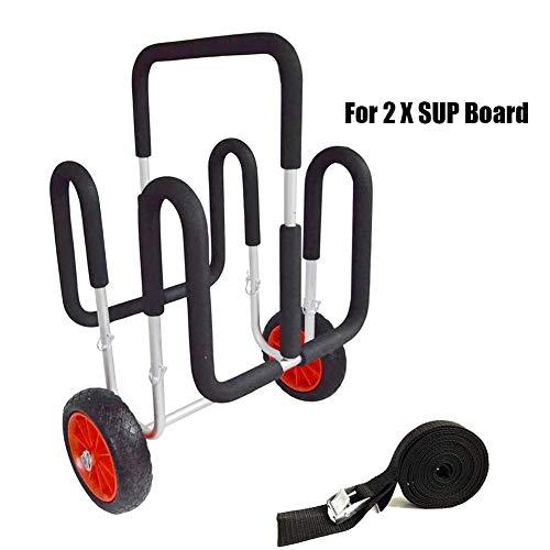 MROSW 2 X SUP Trolleys, Aufblasbarer Stand Up Paddle Board Wagen Dolly 100 KG / 220 LB Aluminium Hand-LKW Für Kajak, Surfbrett, Kanu, Jon Boat