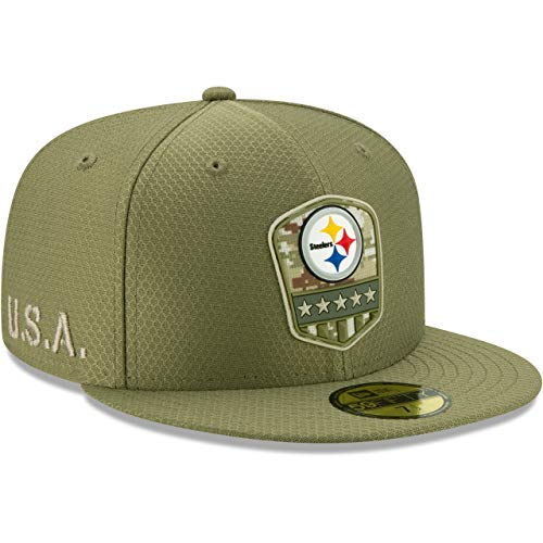 New Era Pittsburgh Steelers 59fifty Basecap On Field 2019 Salute To Service Olive - 7-56cm