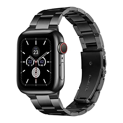 LovRug Metal Straps Compatible with Apple Watch Strap 44mm 42mm 40mm 38mm, Premium Stainless Steel Metal Replacement Band Compatible for iWatch Series 6/5/4/3/2/1, SE (42mm 44mm Black)