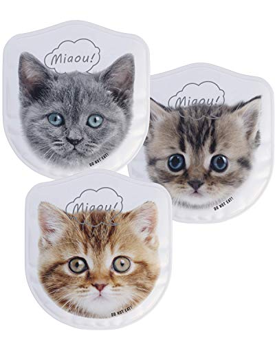 Vendur Reusable Gel Ice Pack Set: 3 Unique Kittens, Cold Packs for Kids Bumps, Bruises, Fever or Teething. Use for School Lunch or Bento Box