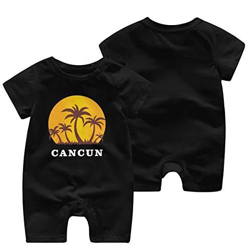 Cancun Mexique Coucher De Soleil Et Palmiers Beach Girls Body Bébé Barboteuse Body À Manches Courtes pour Enfant(6M,Noir)