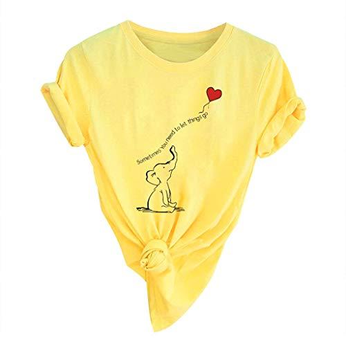 PiabigkaDonna Confortevole Traspirante Manica Corta Girocollo Sciolto T-Shirt Lovers Grandi Dimensioni Casual Magliette con Tema Stampa A Proposito di Cute Elephant Balloon