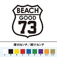 BEACH GOOD 73 ビーチ いい波 ステッカー (黒, 10)