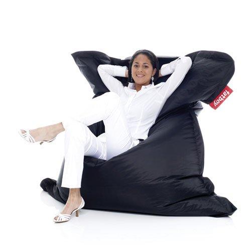 Fatboy® Original schwarz Nylon-Sitzsack| Klassischer Indoor Beanbag, Sitzkissen | 180 x 140 cm