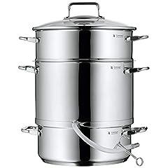 WMF stoom juicer inductie 7.0l, juicer met glazen deksel 25 cm, Cromargan roestvrij staal gepolijst*