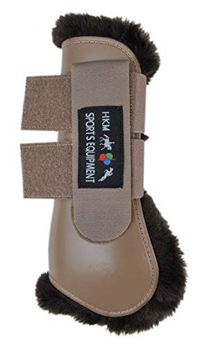 HKM Teddy Fetlock laarzen voor achterpoten, Teddy springlaarzen voor voorpoten, Thoroughbred/Warmblood, camel/dark brown