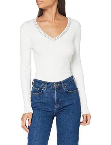 Morgan Pull Manches Longues avec Bandes Bijoux MFAUSTI Sweater, Blanc, L Womens