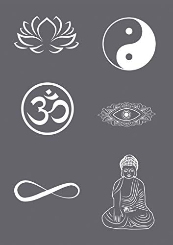 Rayher 45136000 Siebdruck-Schablone Symbole, A5, 1 Schablone mit 6 Motiven + 1 Rakel, für tolle Prints auf Textil, Holz, Beton etc.