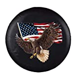 Jayke Joy Spare Tire Cover, Wheel Cover with American Eagle USA Flag PVC Leather Waterproof Dust-Proof Universal Fit for Jeep Trailer RV SUV Camper Vehicle (14 Inch)