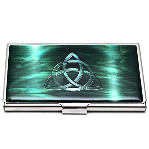 MADDesign Mother of Pearl Celtic Knot Green Business Card Case Id Holder Mini Wallet