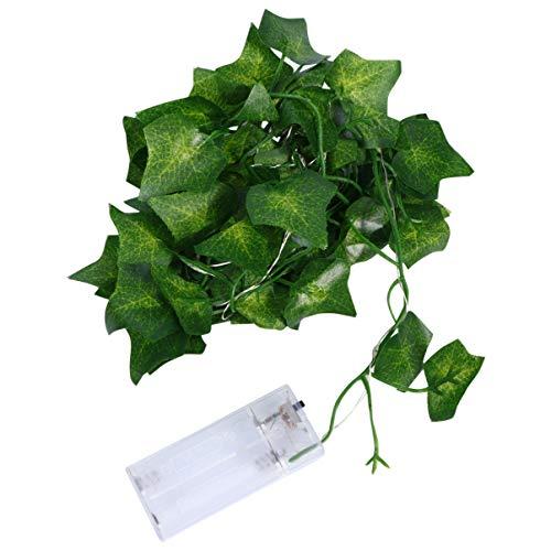 BESTOYARD 2M Cordão de folhas verdes Luzes de simulação Ivy Plantas Garland Cordão Luzes Noturnas Bandeira de parede Cenário de Layout Props para festa de casamento Casa sem bateria Estilo 1, Style 1, 200CM