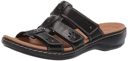 Clarks Women's Leisa Spring Sandal, Black Leather, 85 W US