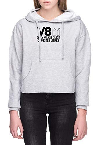 V8 - Only Milk & Juice Come In 2 Litres Dames Crop Capuchon Sweatshirt Grijs Women's Crop Hoodie Sweatshirt Grey