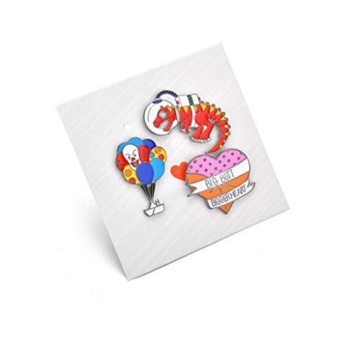 LBWT Fashion Cartoon Broche, Dinosaurus/Hart/Clown Ballon Badge 3-delige Corsage Pin prachtige accessoires geschenken