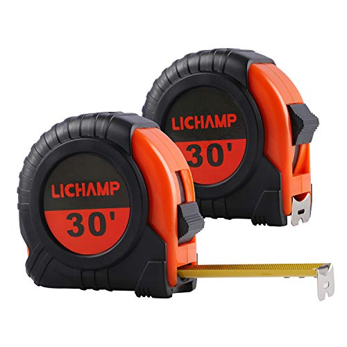 LICHAMP Tape Measure 30-Foot, 2 Pack Bulk Easy Read Measuring Tape Retractable Metric/Fractional, Measurement Tape 29.5FT/9M by 1-Inch