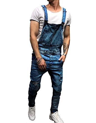 tetyseysh Men's Slim Fit Ripped Denim Distressed Bib Overalls Jumpsuit Jeans (XXL, Dark Blue)