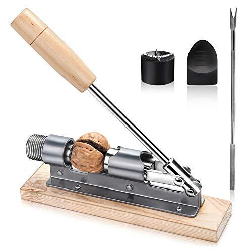 LSZE Walnuss Clip, Tragbarer Nussbaumclip Retro Nussknacker Holz Silber/Natur Nutcracker, größenverstellbar kraftsparend Nüsse öffnen Hebel Metall