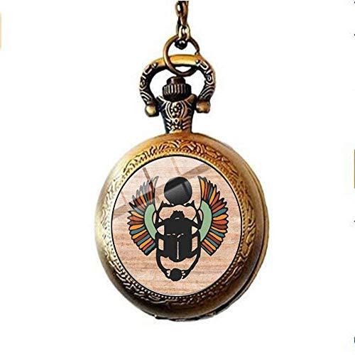 Ägyptische Skarabäus Amulett Taschenuhr Halskette antike ägyptische Tiere Käfer Kunst Schmuck schönes Geschenk