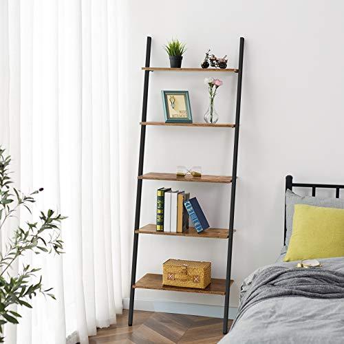HOOBRO Ladder Shelf, 5-Tier Sloping Bookshelf, Industrial Plant Flower Stand Shelves, Leaning-Against-Wall Storage Rack for Living Room, Kitchen, Office, Metal Frame, Rustic Brown BF70CJ01
