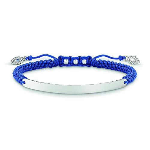 Thomas Sabo Damen-Armband Love Bridge 925 Sterling Silber Nylon Zirkonia weiß blau Länge von 14.5 bis 21 cm Brücke 5 cm LBA0066-897-1-L21v