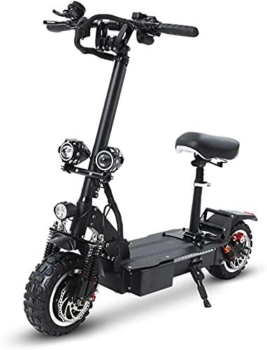 LLKK Scooter eléctrico de doble motor de 3200 W, neumáticos todoterreno de 11 pulgadas en vacío motocross plegable disco dual con batería de litio de 60 V 26 AH (color: -, tamaño: -)