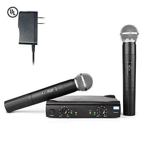 UHF Wireless Microphone System, Frunsi AMR Dual Dynamic Cordless Handheld Microphone with UL Adapter, Multiport Receiver, Long Range Wireless Signal for Karaoke, Sing, DJ, Church, Wedding