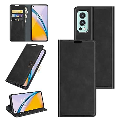 Fertuo Hülle für Oneplus Nord 2 5G, Handyhülle Leder Flip Hülle Tasche mit Kartenfach, Magnetverschluss, Silikon Innenschale Schutzhülle Cover Lederhülle für Oneplus Nord 2 5G Smartphone, Schwarz