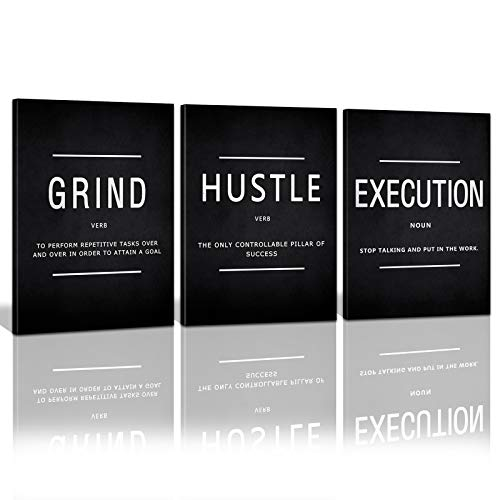 Motivational Grind Hustle Execution Canvas Wall Art, Office Wall Decor Framed Inspirational Success Prints Quotes for Office Wall Art Gallery-Wrapped Canvas Art 3 Piece