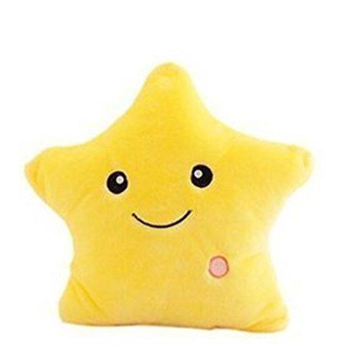 LED Estrella Almohadas Luminoso Suave Cojines Maravilloso Guardería Habitación Almohadas Felpa Juguetes Fiesta Decoraciones (Amarillo)