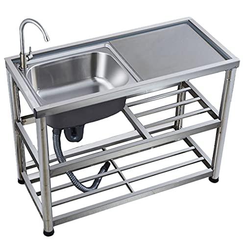JPSHBA Fregadero de Acero Inoxidable para Cocina Comercial,Fregadero Independiente con Consola y Soporte,Apto para Cocina lavadero de baño Patio Garaje sótano