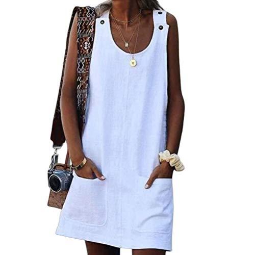 Vestidos Moda Mujer Elegante 2020 Style Clásico Summer Women Pocket Button Strap Dress Vestidos De Verano Chicos (Color : Blanco, Size : XL)