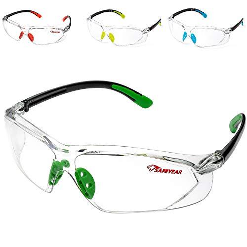 Schutzbrille Softair Arbeitsbrille Sicherheitsbrille Baustelle – 003 mit Durchsichtigen Anti-Beschlag und Kratzbeständigen Gläsern (Grün)