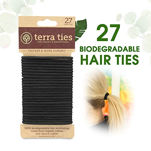 Biodegradable Elastic Hair Ties for Women & Men - Organic No Crease Black Hair Tie Ponytail Holders and Hairties for Buns - Plastic Free Hairbands for Women and Mens Hair - 5mm (27 count)