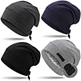 4 Pieces Satin Lined Sleep Cap for Men Adjustable-Designed Sleeping Hair Satin Lined Bonnet Hair Cover (Black, Navy Blue, Dark Gray and Light Gray)