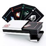 Oumezon Premium Schwarze Wasserdichtes Profi Pokerkarten Plastik Poker Spielkarten Standard Spielkarten Plastik Spielkarten Schwarze Wasserdichtes Playing Cards Poker mit Aluminium Box -
