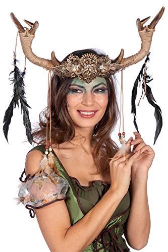 shoperama Diadema elegante con cuernos de ciervo y hada del bosque, accesorio para disfraz de voodoo Priesterin Schamanin