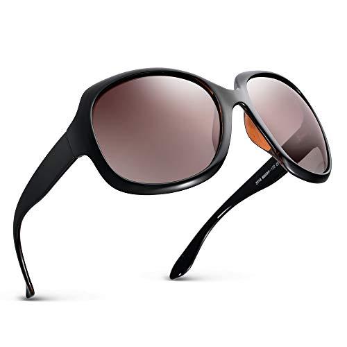Effnny Gafas de sol polarizadas para mujeres, protección UV, Lentes de sol espejadas 3113 (Negro por fuera y marrón por dentro)