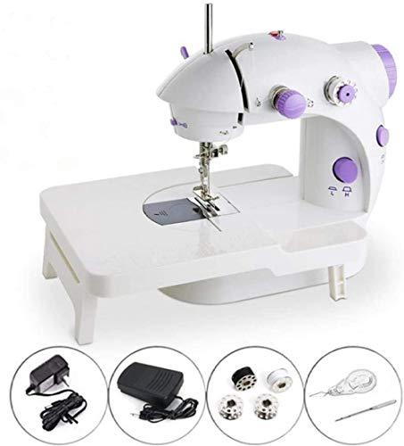 Mini máquina de coser portátil, mini máquina de coser eléctrica portátil con lámpara y cortador de hilo, altas velocidades bajas, batería o adaptador de alimentación