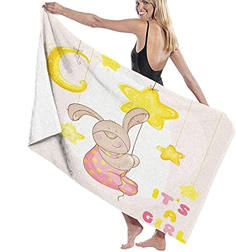 Telo Mare Grande 130 ×80cm, Bambini Cartoon Bunny Stars Moon,Asciugamano da Spiaggia in Microfibra Asciugatura Rapida,Ultra Morbido,Uomo,Donna,Bambina