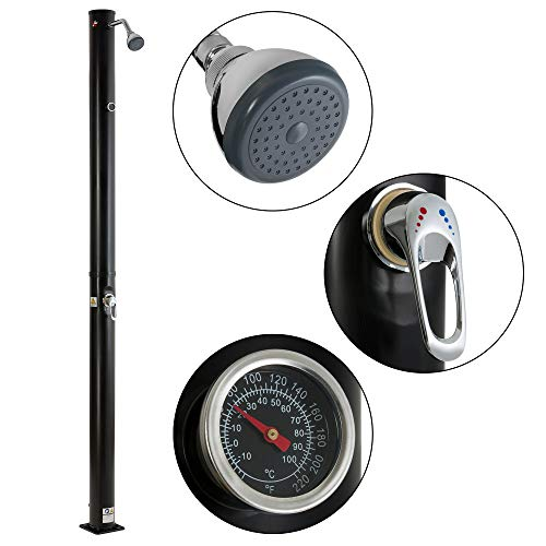 Arebos Solardusche | 20 Liter | 221 cm | mit integriertem Thermometer | Schwarz | runder Duschkopf | Wassertemperatur bis 60°C | Gartenschlauch-Anschluss | inkl. Montagematerial