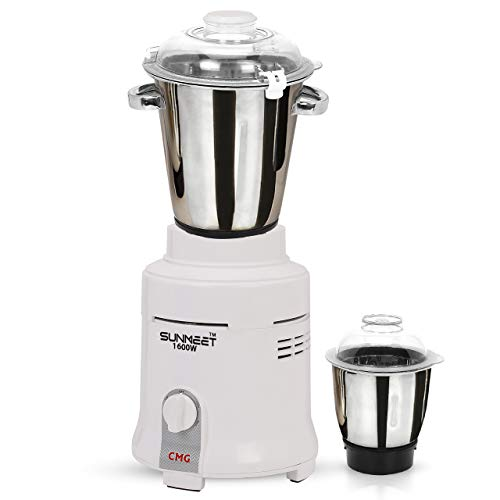 Sunmeet Mixer Grinder for Hotel, 1600-watts, Commercial Heavy Duty and Hi-Tech 100% Copper Motor with 2 Stainless Steel Jars, White Restaurants Catering Hotels Food Industry Heavy Home Usage